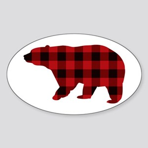 lumberjack buffalo plaid Bear Sticker